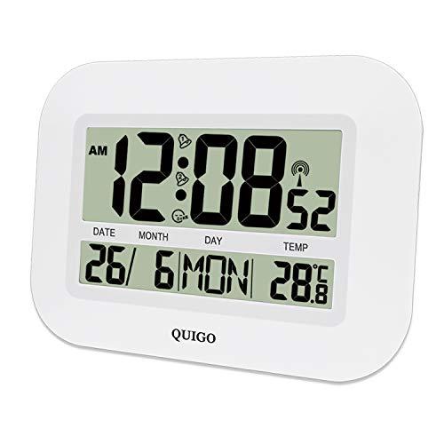 QUIGO Reloj de Pared atómico con Control de Radio, Fecha y Temperatura, Funciona con Pilas, fácil de Leer, Decorativo, para el hogar y la Oficina