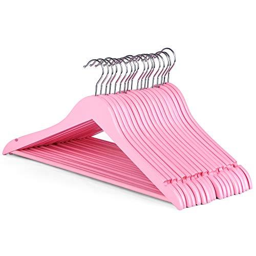 HOUSE DAY 20 Stück Kleiderbügel Hölzerner rutschfest 44,5 cm mit Rockkerben und Hosensteg, 360 Grad drehbar, Anzugbügel Jackenbügel für Kleidung Anzug Jacke Hose, Hell-Pink