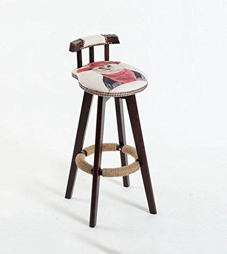 Chaise Guo Shop- Style européen Minimaliste des Animaux, Bois Noir, Bois Massif, pivotant siège Coussin Bar réception européenne en Bois Banc Vintage tabourets Hauteur 70 cm Bonne