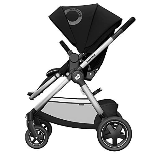 Maxi-Cosi Adorra² Kinderwagen, komfortabler, zusammenklappbarer Kombi-Kinderwagen mit Einkaufskorb und mehreren Sitzpositionen, nutzbar ab Geburt bis ca. 4 Jahre (0-22 kg), essential black, schwarz