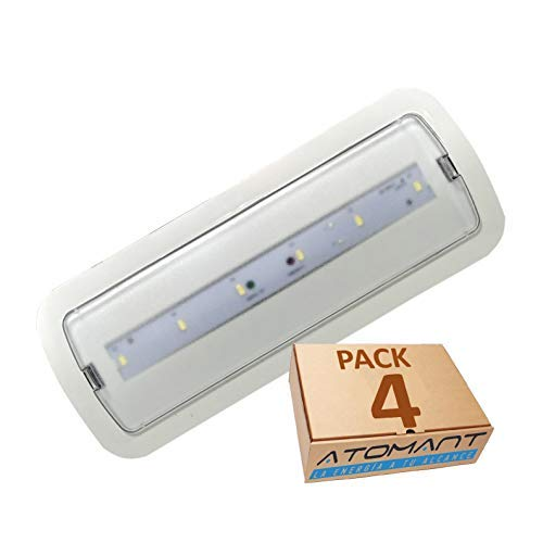 Pack 4x Luz de Emergencia LED empotrable o superficie 3W, 200 Lumenes. 3 Horas de Autonomía. Color Blanco Frío (6500K).