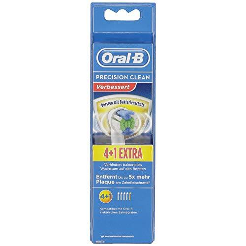 Braun Oral-B 4210201300908 Precision Clean Aufsteckbürsten mit Bakterienschutz, Verhindert Bakterielles Wachstum Auf den Borsten, 4+1 Stück, 27 g