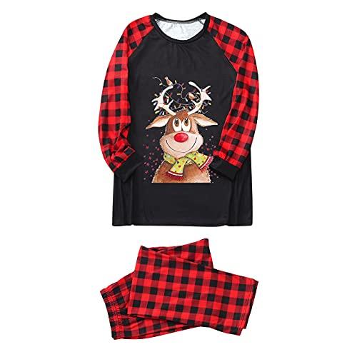 Hengyouhui Weihnachten Schlafanzug Fun-Nachtwäsche Christmas Hausanzug Langarm Nachthemd Top Plaid Nachthose Schlafanzüge