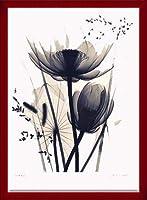 ポスター ジュディス マクミラン Lotus and Grasses 額装品 ウッドベーシックフレーム(レッド)