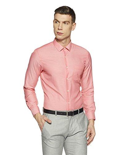 Peter England Men's Solid Regular Fit Cotton Formal Shirt (PSF1041601452_44_Pink)