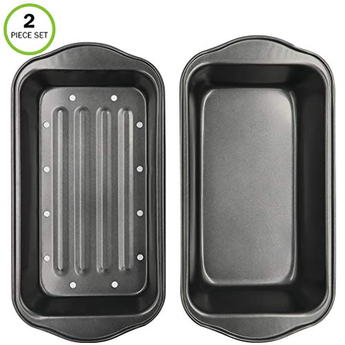 Evelots 2 Piece Non Stick Meatloaf Pan Drains...