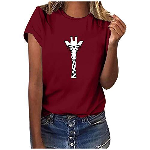 T-Shirt Damen Sommer Oberteile Giraffe mit Blumen Drucken Kurzarm Tee Tops Casual Rundhals Shirt Hemd Bluse Teenager Mädchen Einfarbig Einfachheit Tee Shirts Locker Alltag Sport Shirts