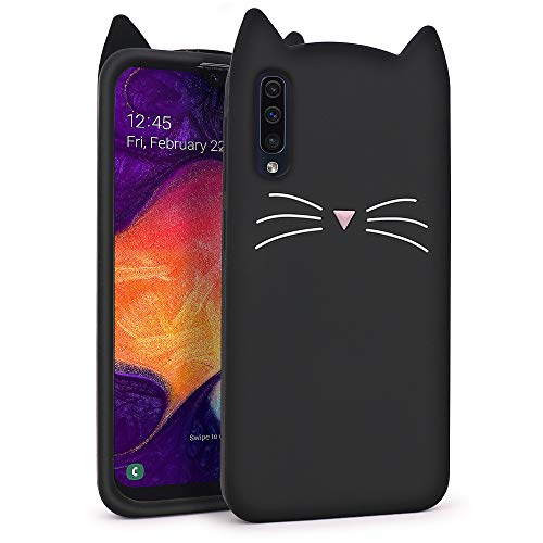 YONOCOSTA Cute Samsung Galaxy A50/Galaxy A50s/Galaxy A30s Case, Funny Fashion 3D Cartoon Animals Black Whisker Cat Ears Kitty Soft Silicone Shockproof Case Cover for Girls Kids Children Women