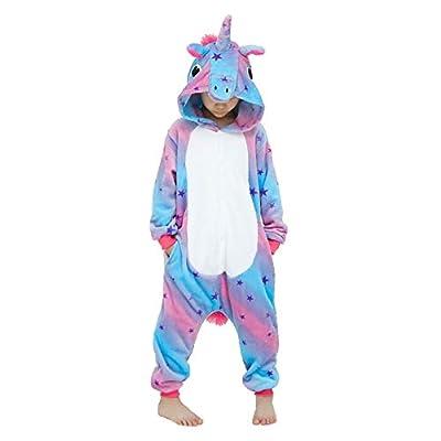 Kigurumi - Pijama de animal, traje de cuerpo entero, disfraz de Halloween, cosplay, unisex, adulto y niño Unicornio Sky Lila. 6-7 Años