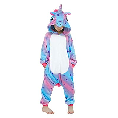 Kigurumi - Pijama de animal, traje de cuerpo entero, disfraz de Halloween, cosplay, unisex, adulto y niño Unicornio Sky Lila. S