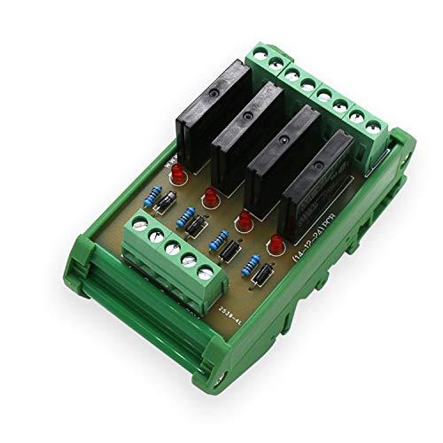 Arduino Enchufe de relé de Estado sólido 4 Paneles de Control Módulos de Placa de transmisión NPN 12V (Size : DC12V NPN Plus Shell)