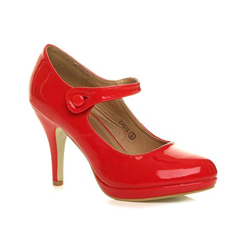 Femmes Talon Haut Mary Jane Soir Travail Escarpins Babies Chaussures Pointure 4 37