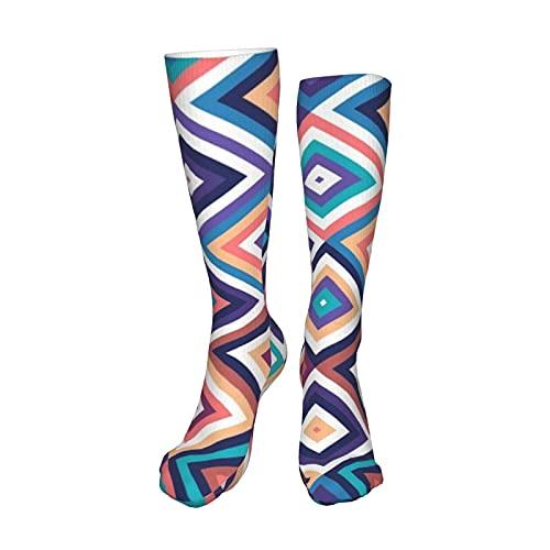 Patrón geométrico étnico oriental diseño tradicional calcetines de compresión de 19.8 pulgadas botas altas medias largo manguera para yoga caminar para mujeres hombre