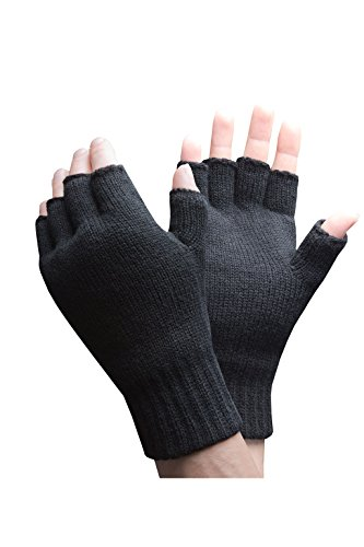 HEAT HOLDERS - Hombre Invierno Confortables Calientes 3.2 TOG Térmico Respirable Guantes sin dedos (One size, Black)