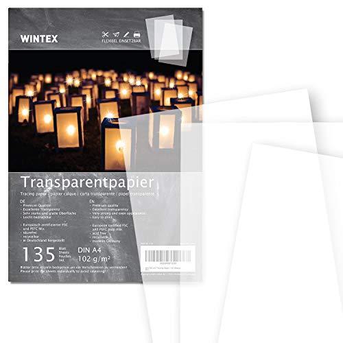 WINTEX® 135 Blatt Premium Transparentpapier DIN A4, 102 g/qm, Super Qualität - weißes Bastelpapier – bedruckbar