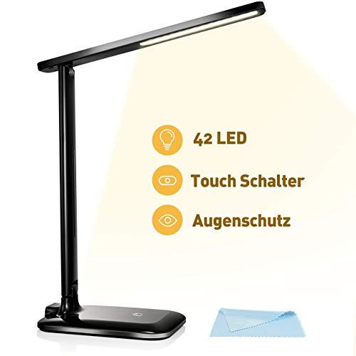 VICTSING LED Schreibtischlampe, LED Dimmbare Tischleuchte 3 Farb und 3 Helligkeitsstufen Augenfreundliche Nachttischlampe,Leselicht ideal für Leser, Kinder, Büro, Schwarz