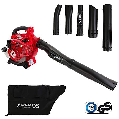 Arebos 3-in-1 Benzin Laubsauger | 700 W | inkl. 45 L Auffangsack | mit Saug-/ Blas- und Häckselfunktion | massive Häckselkralle 7500 U/min