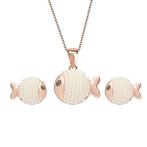 Schmuck-Set aus Legierung, für Damen, Halskette, Ohrringe, Fischform, einzigartiger Anhänger, Kunstperlen, Dekoration