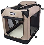 EliteField 3-Door Folding Soft Dog Crate, Indoor & Outdoor Pet Home, Multiple Sizes and Colors Available (20' L x 14' W x 14' H, Khaki)