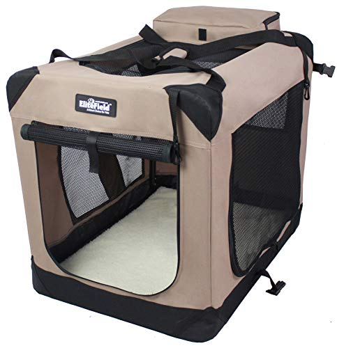 """EliteField 3-Door Folding Soft Dog Crate, Indoor & Outdoor Pet Home, Multiple Sizes and Colors Available (42"""" L x 28"""" W x 32"""" H, Khaki)"""