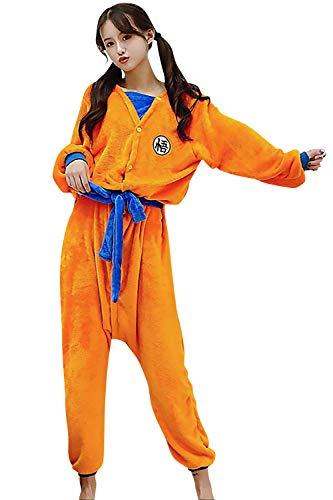 YAOMEI Erwachsene Unisex Jumpsuits, Kostüm Tier Kostüm-Anzug Onesie Nachthemd Schlafanzug Kapuzenpullover Nachtwäsche Cosplay Karton 3D Kigurumi Xmas Halloween Fastnachtskostuem (Dragon Ball, XL)