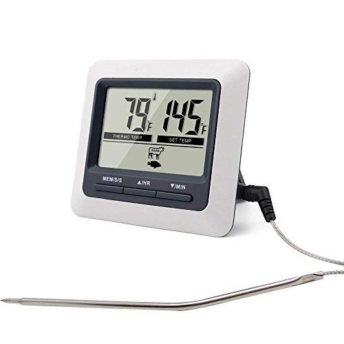 Pantalla LCD digital Termómetro de Cocina para Horno, Barbacoa, Smoker, cocinar, con Temporizador by RIVENBERT
