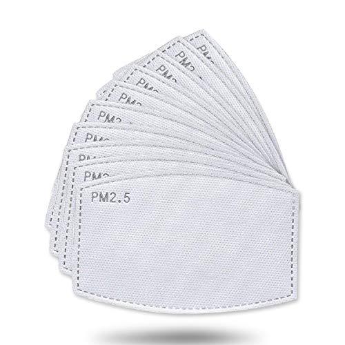 Lot de 50 filtres à charbon actif, tissu non tissé avec 5 couches de protection remplaçables P-M 2,5 pour femmes, hommes et enfants