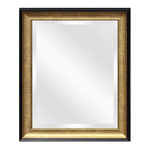 Wall Beveled Mirror Framed - Bedroom or Bathroom Rectangular Frame Hangs Horizontal -
