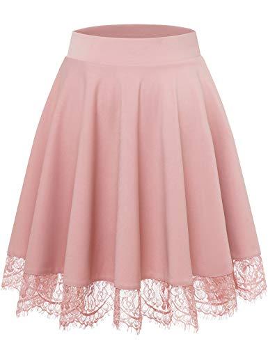 Bbonlinedress Rock Damen Röcke Damen Faltenrock Damen schwarzer Rock Damen Mini Rock mädchen Glockenrock high Waist Rock Rosa Pink Damen Blush L