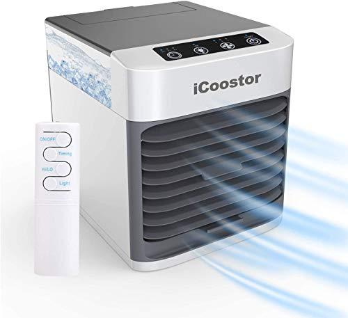 iCoostor Personal Space Air Cooler | Portatile Evaporativo Air Cooler | Umidificatore con pulsante Touch & telecomando & 3 livelli di velocità & 7 LED luce & senza acqua proteggere & Timer (grigio)