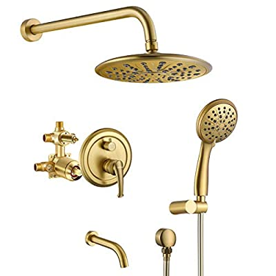 Shower Faucet, Wall Mounted Shower System, High Pressure Rain Shower head and Handheld Shower Head with Tub Spout, Brushed Gold
