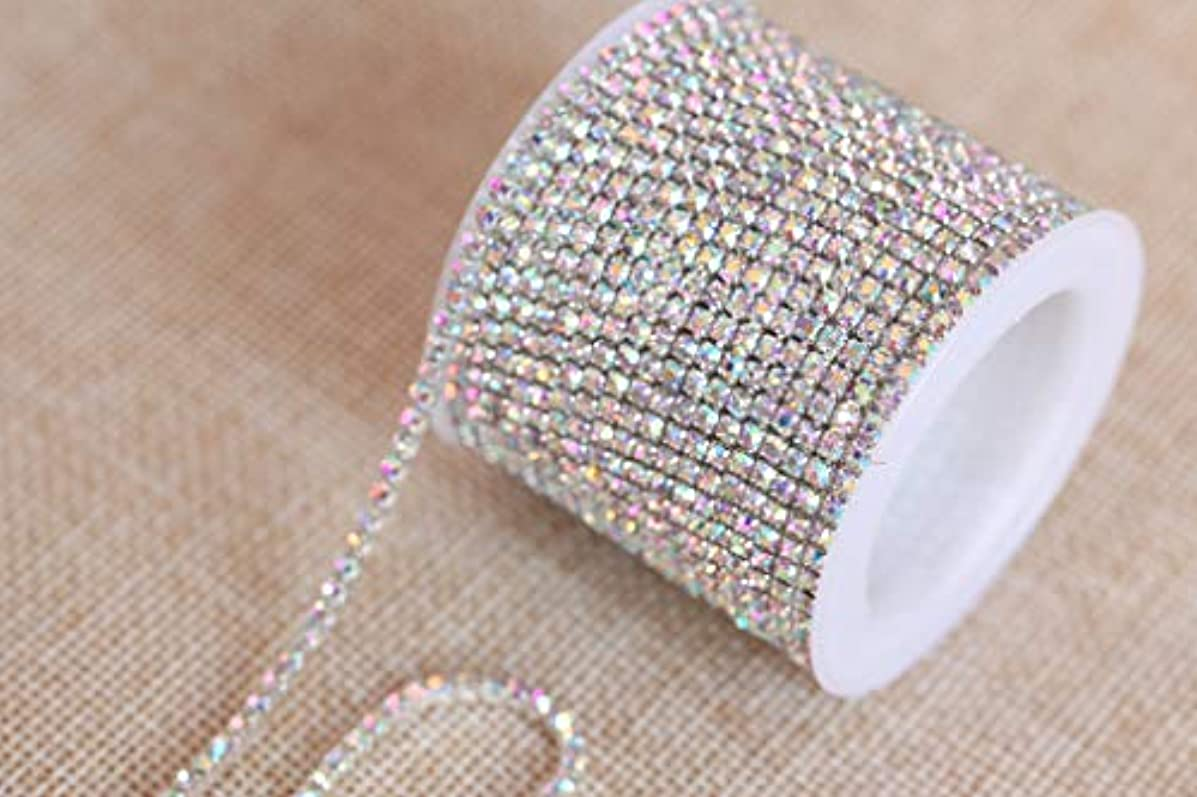 BLINGINBOX Rhinestones Chain - 10 Yards/R 4 Sizes Crystal/Crystal AB Glass Sew On Rhinestones Cup Chain With Silver/Gold Button Sew On Trim(ss16-4mm, Crystal AB-Silver Bottom)