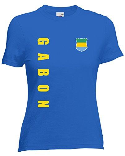 Gabun Gabon Damen T-Shirt Trikot Wunschname Wunschnummer (Royalblau, XXL)
