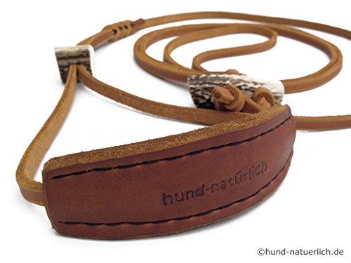 hund-natuerlich Lautlose Jagdleine aus Fettleder mit Kehlkopfschutz und Horn, braun, schwarz oder Cognac Leder (Cognac)