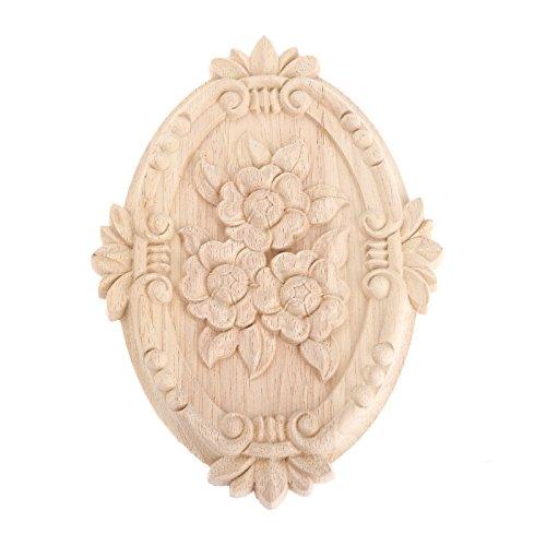 MUXSAM - Cornice in legno intagliato con decorazione per mobili non verniciati, motivo ovale, 21 x 15 cm