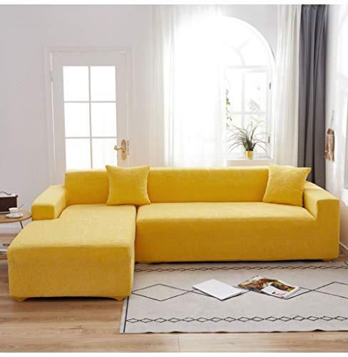 Funda de Sofá Elástica en Forma de L para Sofá de 1 2 3 4 plazas, Jacquard Elástica Funda De Sofá Universal Cubierta de Sofá Cubre Moda Sofá-Cream_Yellow_90-140cm