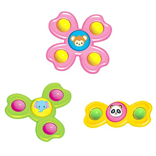 BSTEle 3 uds, Ventosa de Dibujos Animados, peonza giratoria, Juguete para bebé, Ventosa, Juguetes giratorios, Juguetes de Aprendizaje temprano para bebés