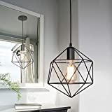 LITFAD Industrial Modern Geometric Cage Pendant Light Iron Ceiling Hanging Light 1-Light LED Pendant Lighting with Adjustable Hanging Cord Over Kitchen Island - Black