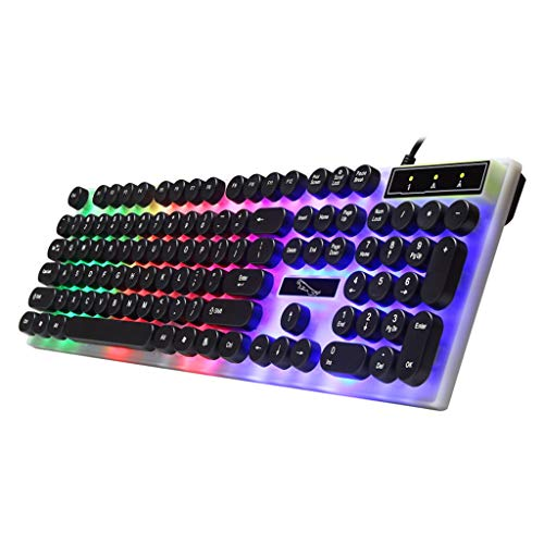 XIAOSHA (1 juego) Teclado con teclas redondas para PC/ordenador portátil retroiluminado teclado para jugadores de ordenador. Hermoso y elegante teclado añade color a tu escritorio mucho, negro.