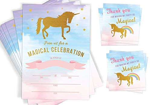 20 Unicorn Invitations | Unicorn Party Supplies | Favor Tags and Envelopes | Rainbow Party Fill In Invitations
