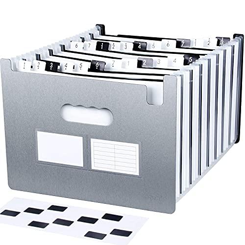 Uquelic Tecla de Piano Clasificadores Carpetas de Acordeón 24 Bolsillos Clasificadores de Acordeón Expandible Portátil Plástico Acordeon Documentos sin Tapa