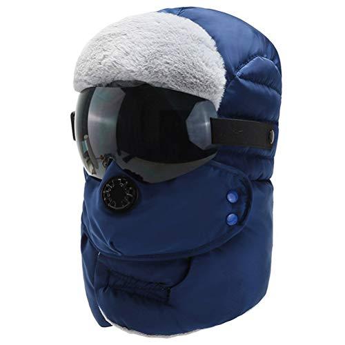 Kohyum Sombrero bomber transpirable para el invierno al aire libre, gorro de esquí con gafas para actividades al aire libre
