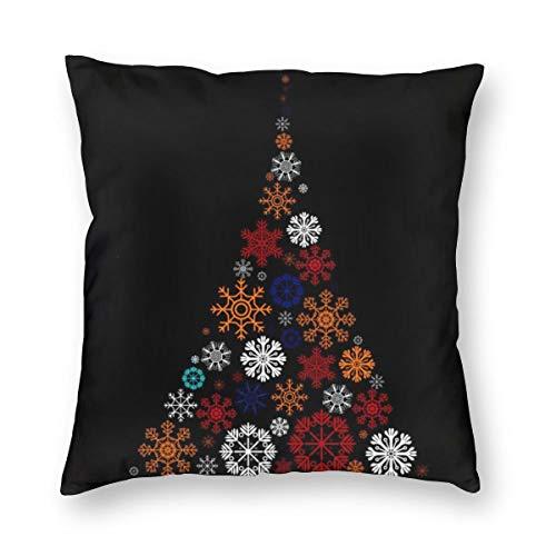 Meius - Funda de cojín decorativa navideña con diseño de copos de nieve, color negro, terciopelo suave, decorativa, cuadrada, funda de almohada para salón, sofá o dormitorio con cremallera invisible de 20 x 20 pulgadas