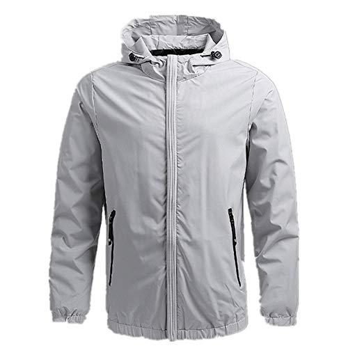 Herren Schnell trocknende Haut Jacken Frauen Mäntel Casual Windbreaker Wasserdicht Winddicht Kleidung Gr. 48, grau
