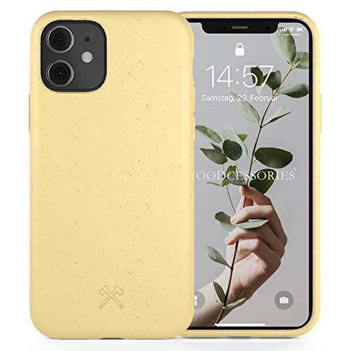 Woodcessories - Antibakterielle Bio Hülle kompatibel mit iPhone 11 Hülle gelb, iPhone XR Hülle gelb - Plastikfrei, nachhaltig