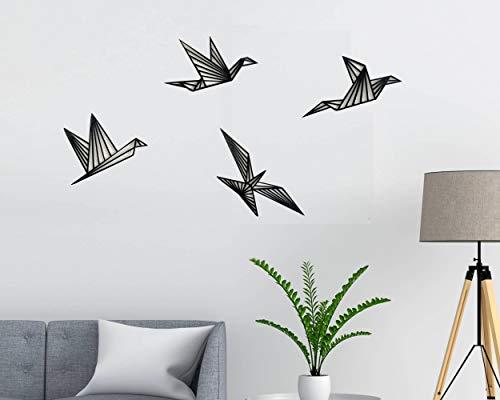 Vogels 4 stuks wanddecoratie vogels houten wanddecoratie origami muur kunst geometrische ornamenten minimalistische…