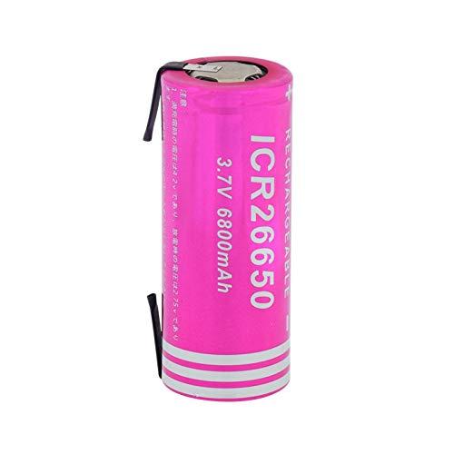 RitzyRose 3.7v 6800mah ICR 26650 Batería De Iones De Litio De Litio, Recargable para Dispositivos De Almacenamiento De Energía UPS De CáMara Digital 1pieces