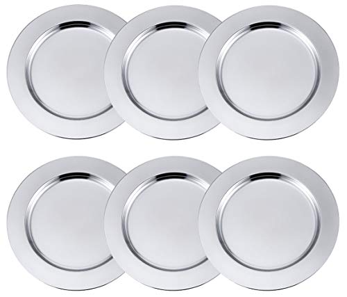 Insun Stainless Steel Metal Round Charger Plate Set of 6 Service Plates for Dining Table or Décor Silver 20cm Diameter