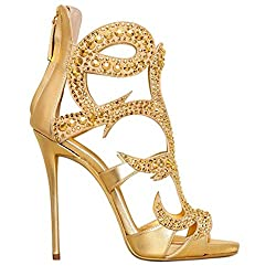 Metal Rhinestones Open Toe Sandals With Heels