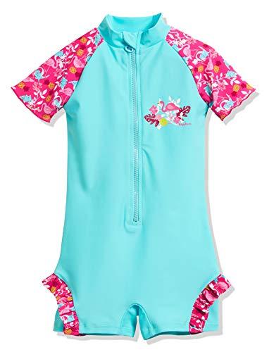 Playshoes Mädchen UV-Schutz Einteiler Flamingo Badeanzug, Türkis (Türkis 15), 98 (Herstellergröße: 98/104)